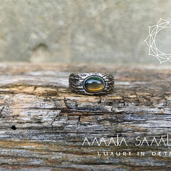 Men's silver ring with opal