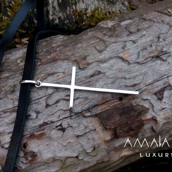 White gold cross with leather cord
