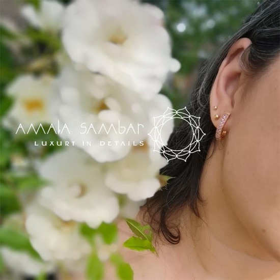 Bridal earrings with pink stones