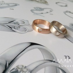 Wedding rings with heart