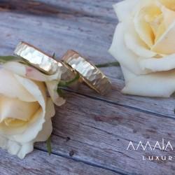 Wedding rings of lemon gold