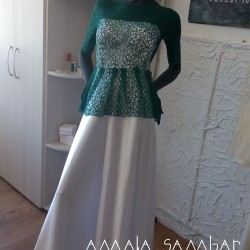 Dress with emerald cobweb